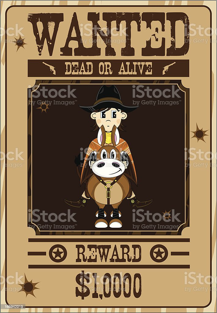 Poncho Cowboy on Horse Wanted Poster royalty-free stock vector art