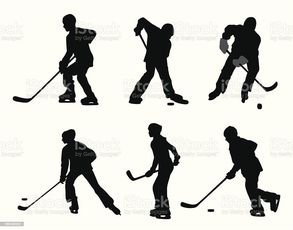 Pond Hockey Vector Silhouette royalty-free stock vector art