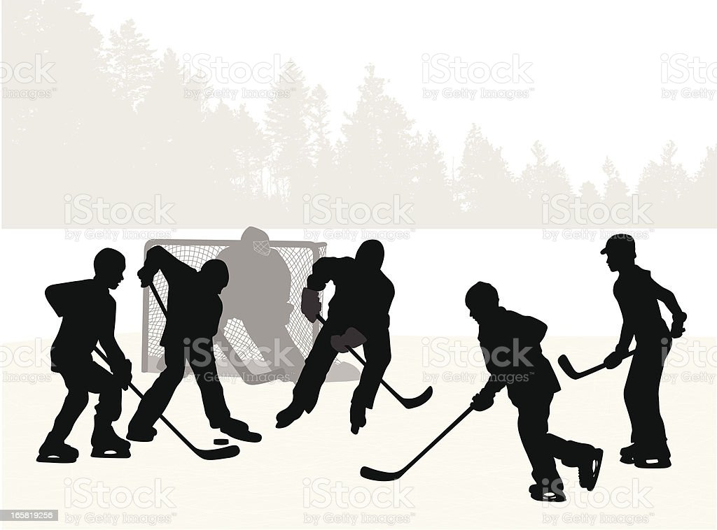 Pond Hockey Vector Silhouette royalty-free stock vector art