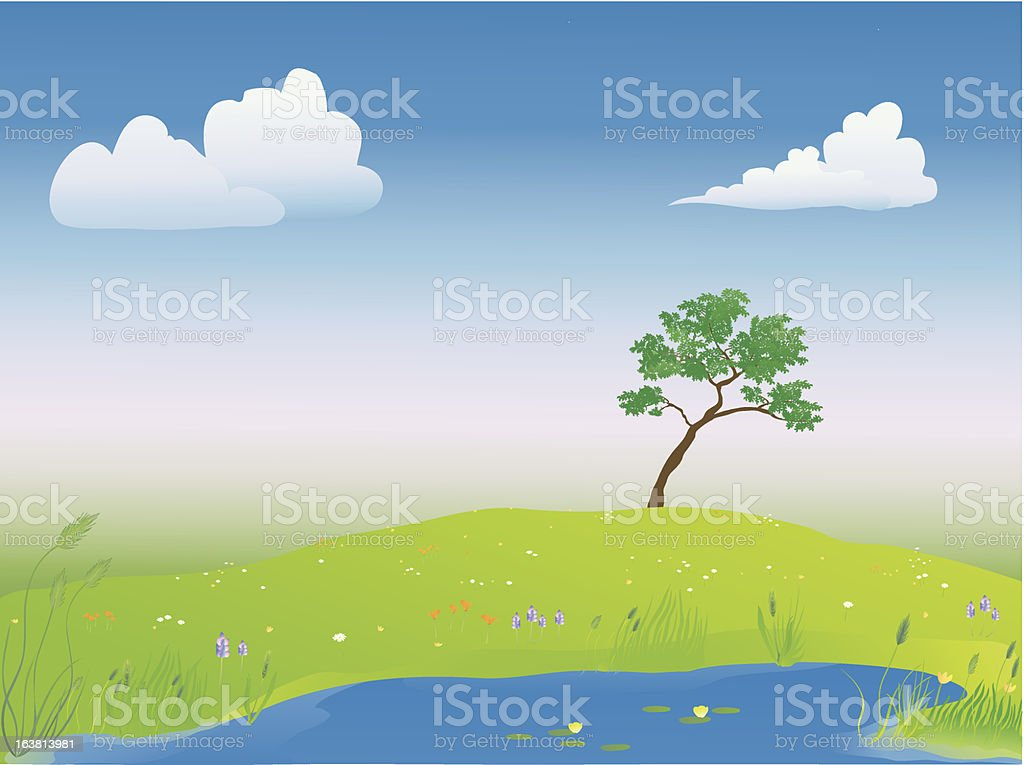 pond in the springtime royalty-free stock vector art