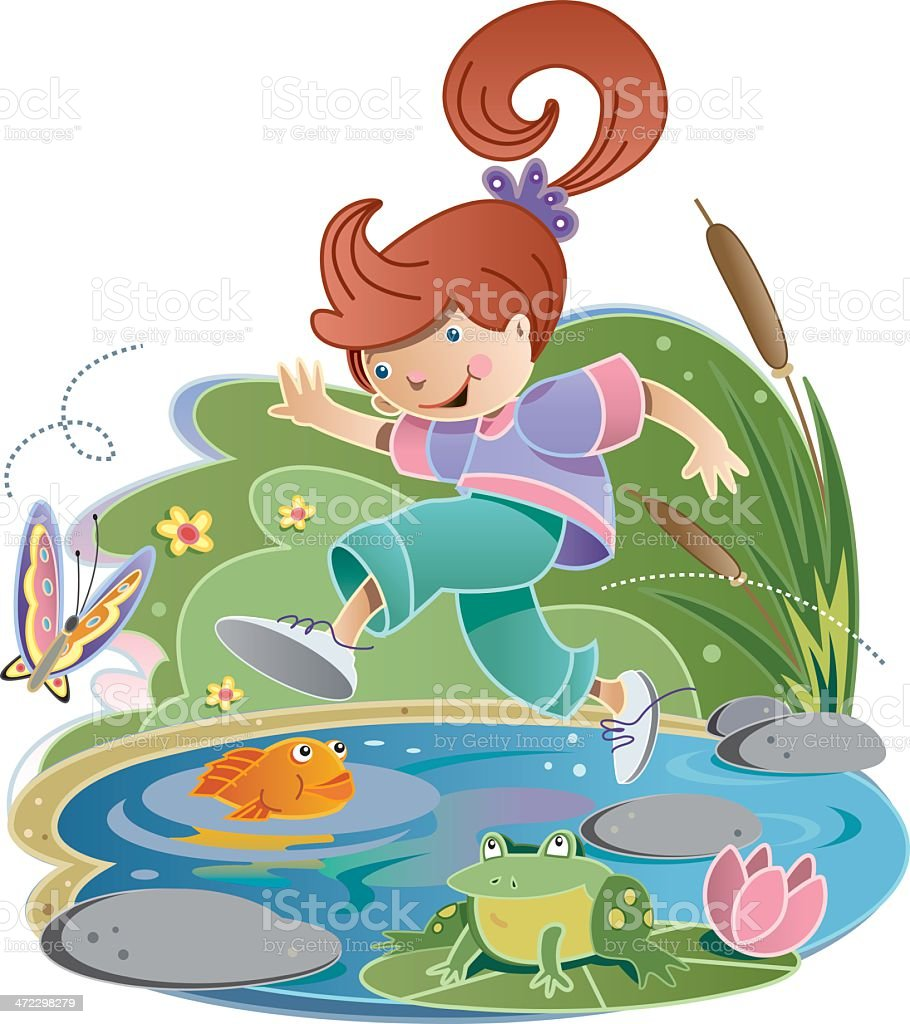 Pond Jump royalty-free stock vector art