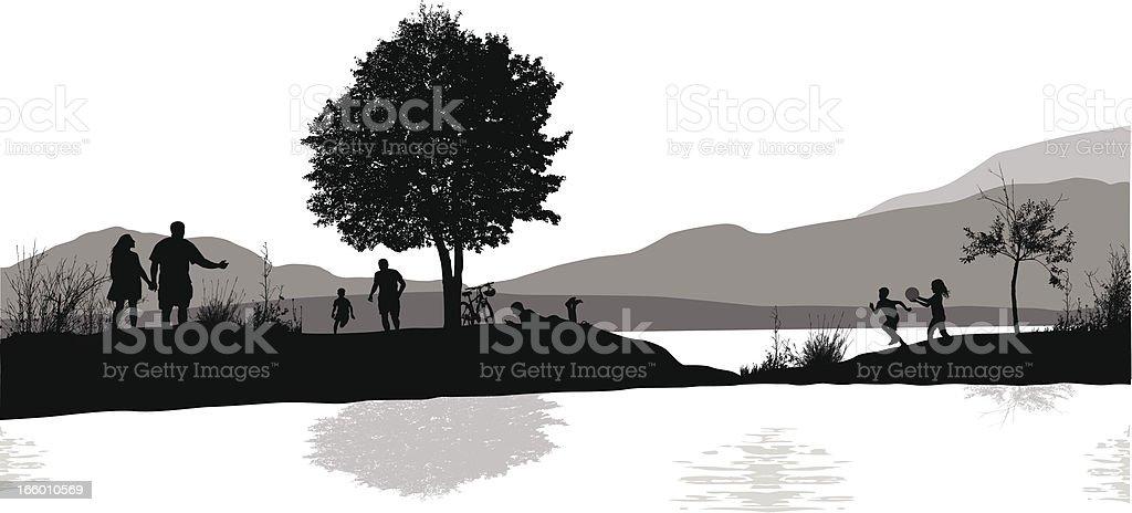 Pond Park royalty-free stock vector art