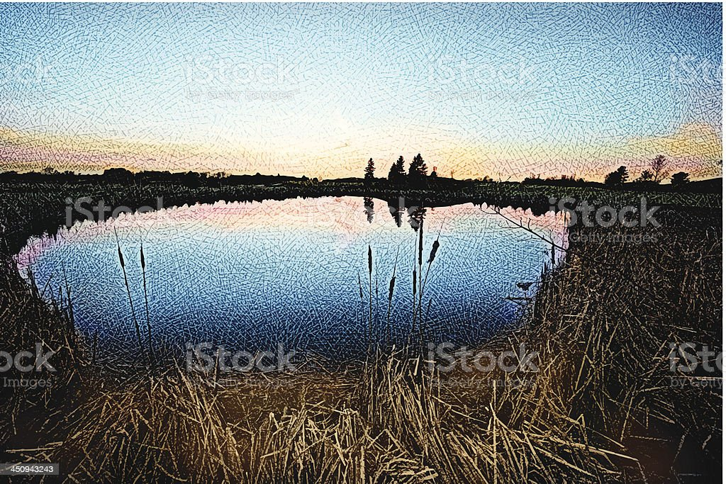 Pond Sunset royalty-free stock vector art