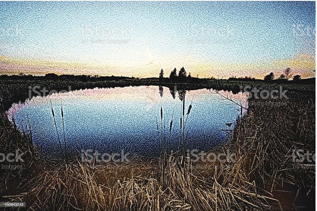 Pond Sunset vector art illustration