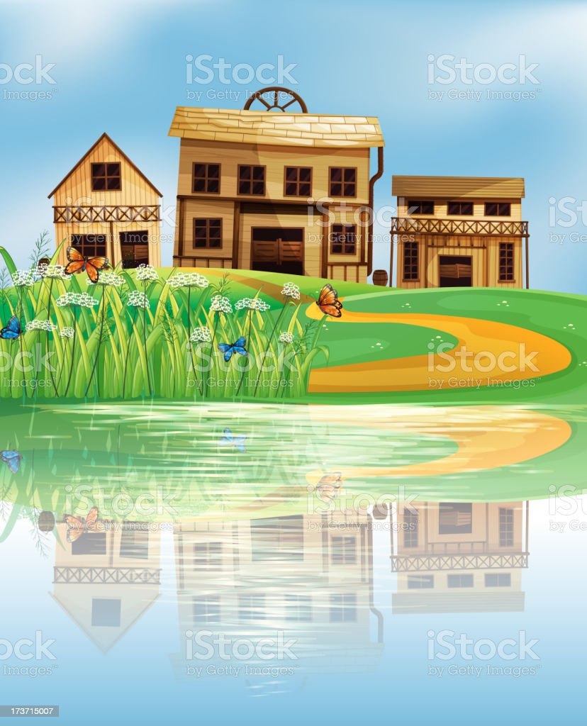 pond with a reflection of the wooden houses royalty-free stock vector art