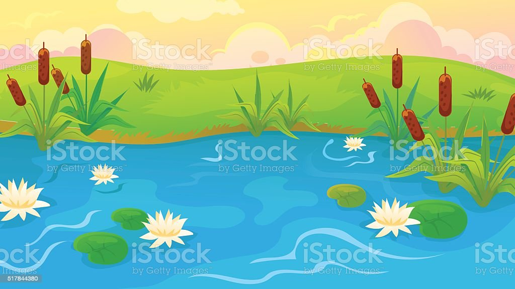 Pond With Reeds And Lilies vector art illustration