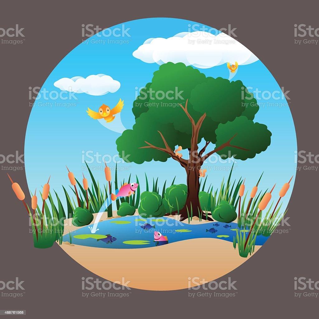 pond-scene vector art illustration