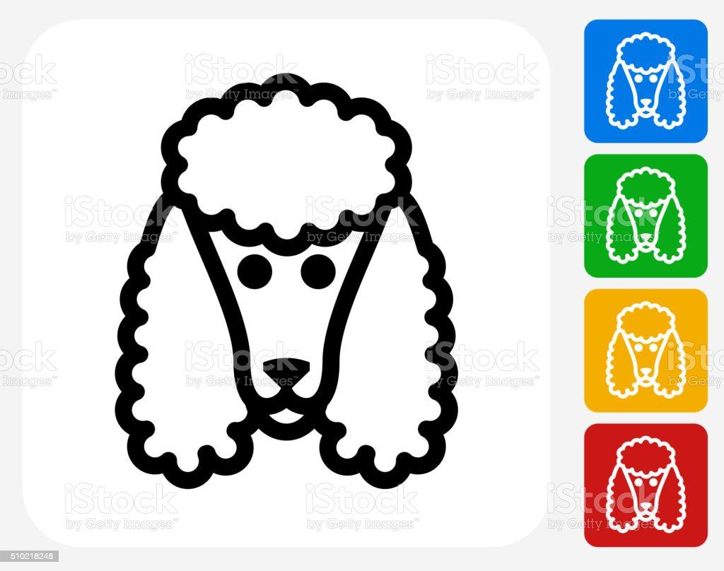 Poodle Dog Icon Flat Graphic Design vector art illustration