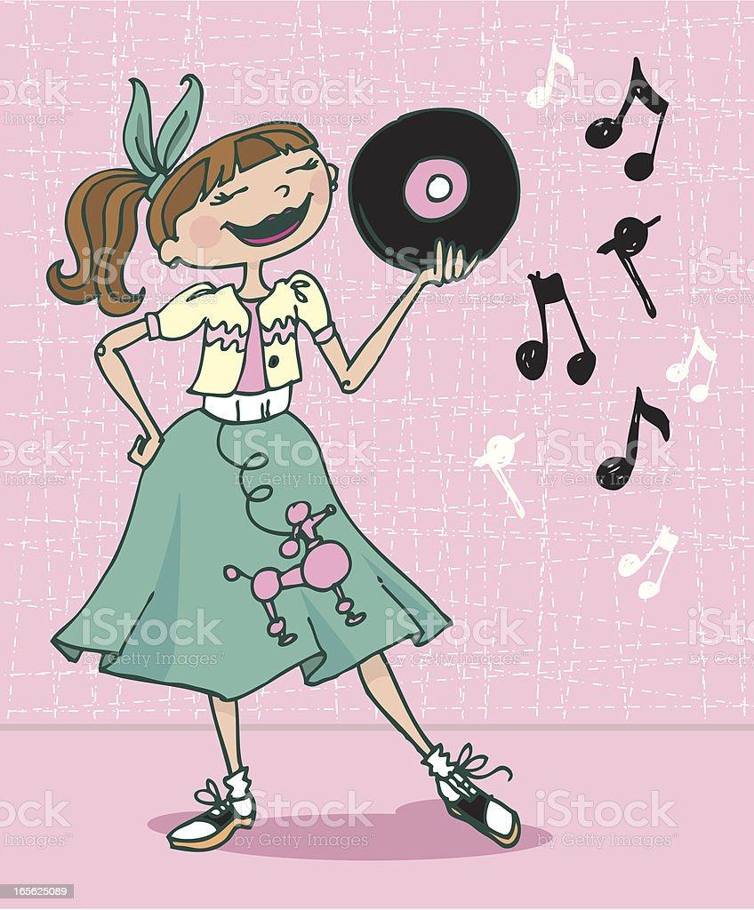 Poodle Skirt Girl vector art illustration