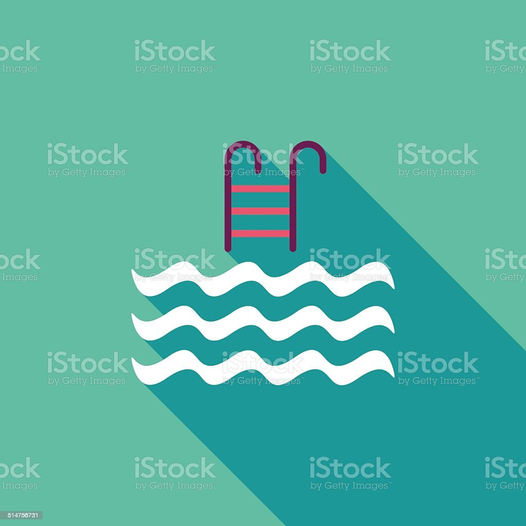 Pool flat icon with long shadow vector art illustration