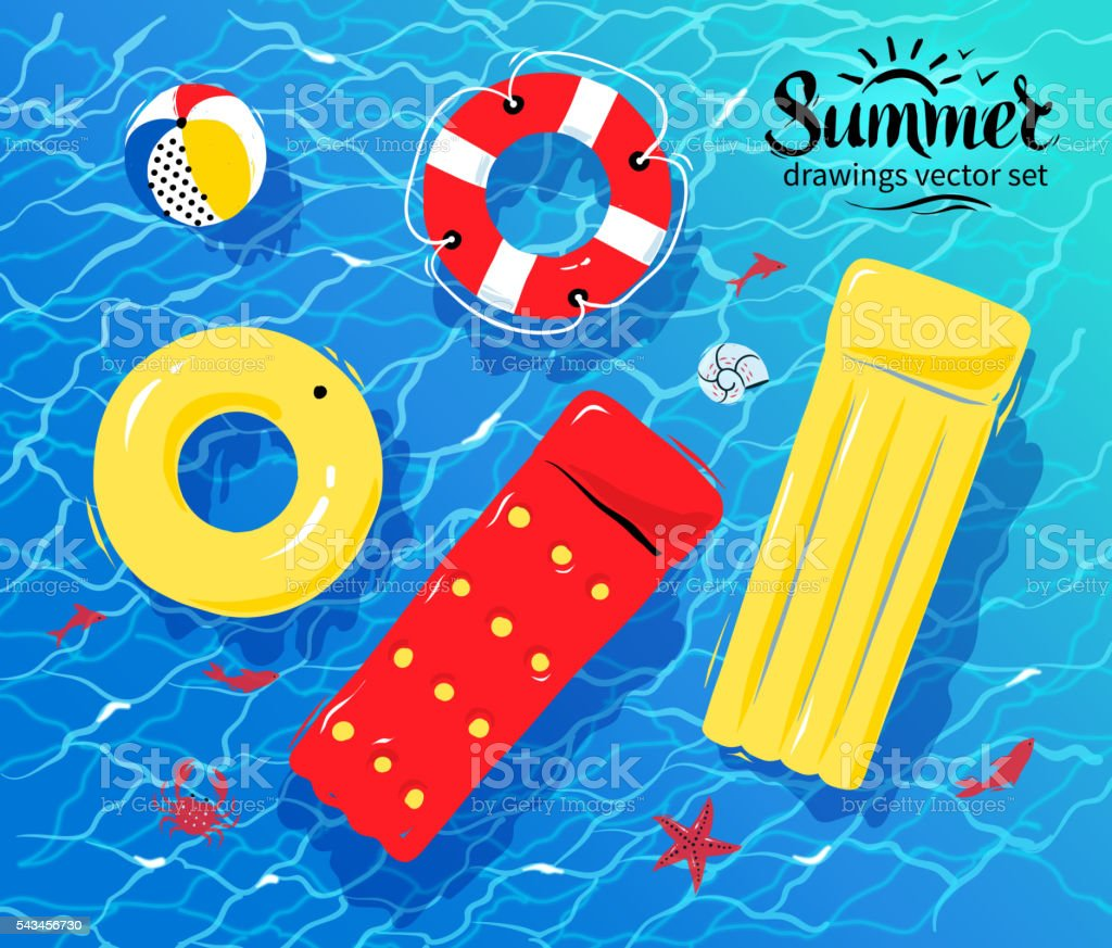 Pool inflatable toys on water vector art illustration