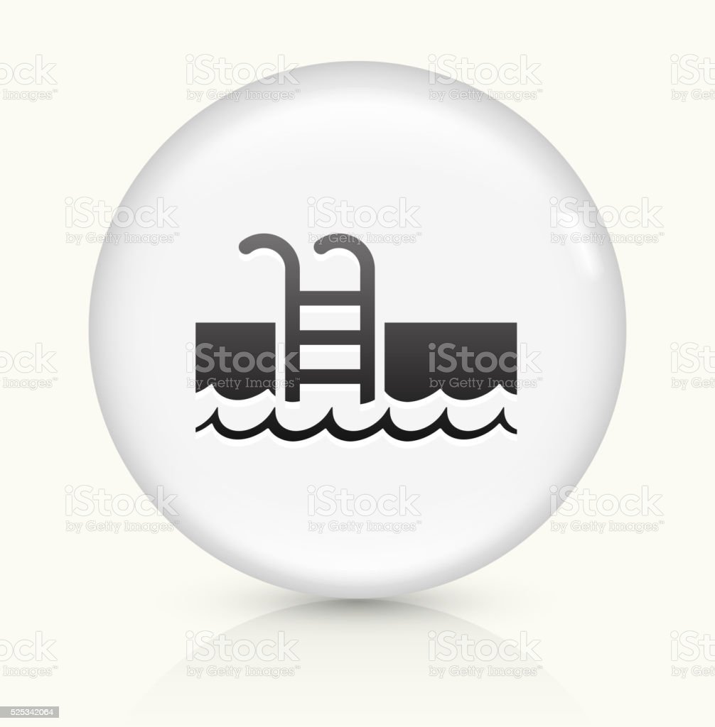 Pool Ladder icon on white round vector button vector art illustration