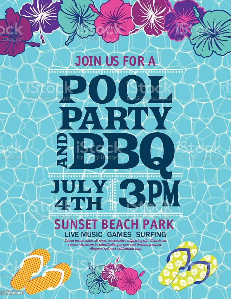 Pool Party Invitation Template With Hibiscus vector art illustration