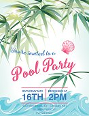 Pool Party Invitation Template With Palm Trees