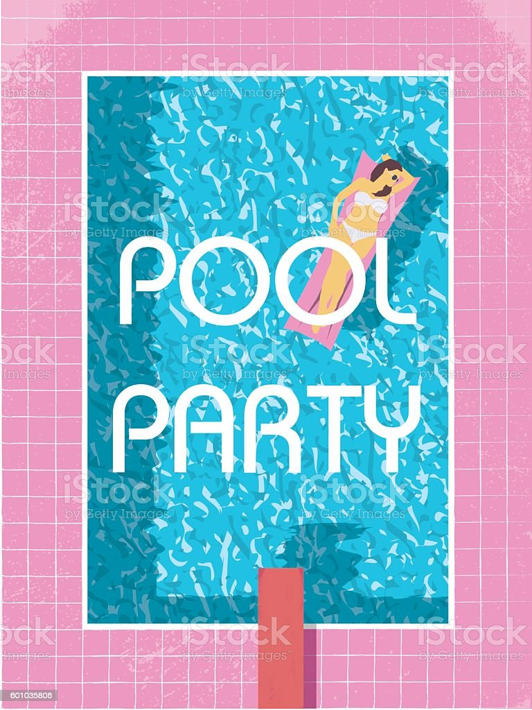 Pool party poster template with sexy woman in bikini sunbathing vector art illustration