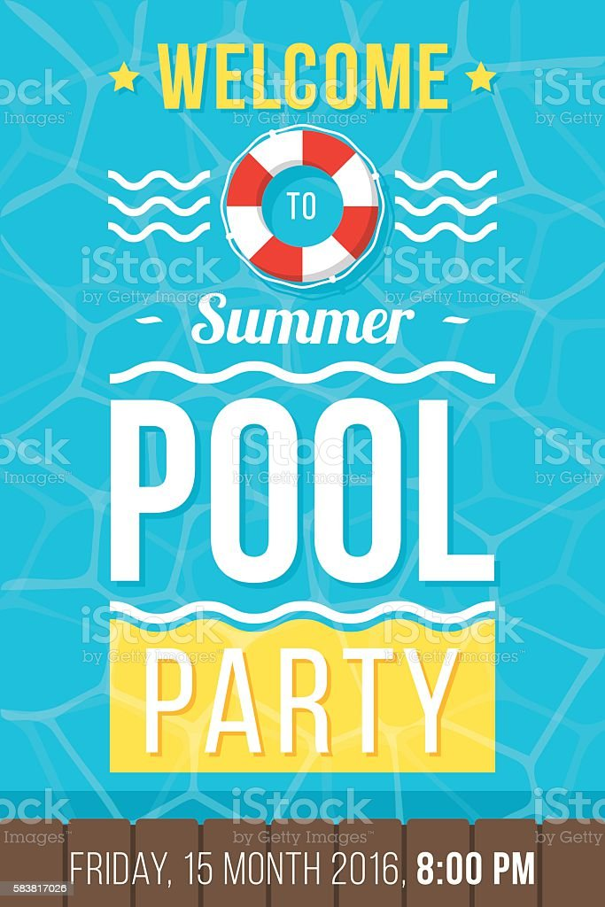 Pool party poster vector art illustration