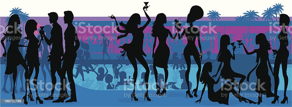 Pool Party Silhouette vector art illustration