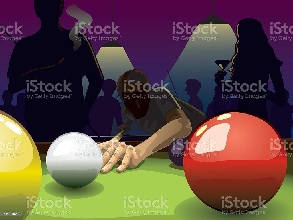 Pool players vector art illustration
