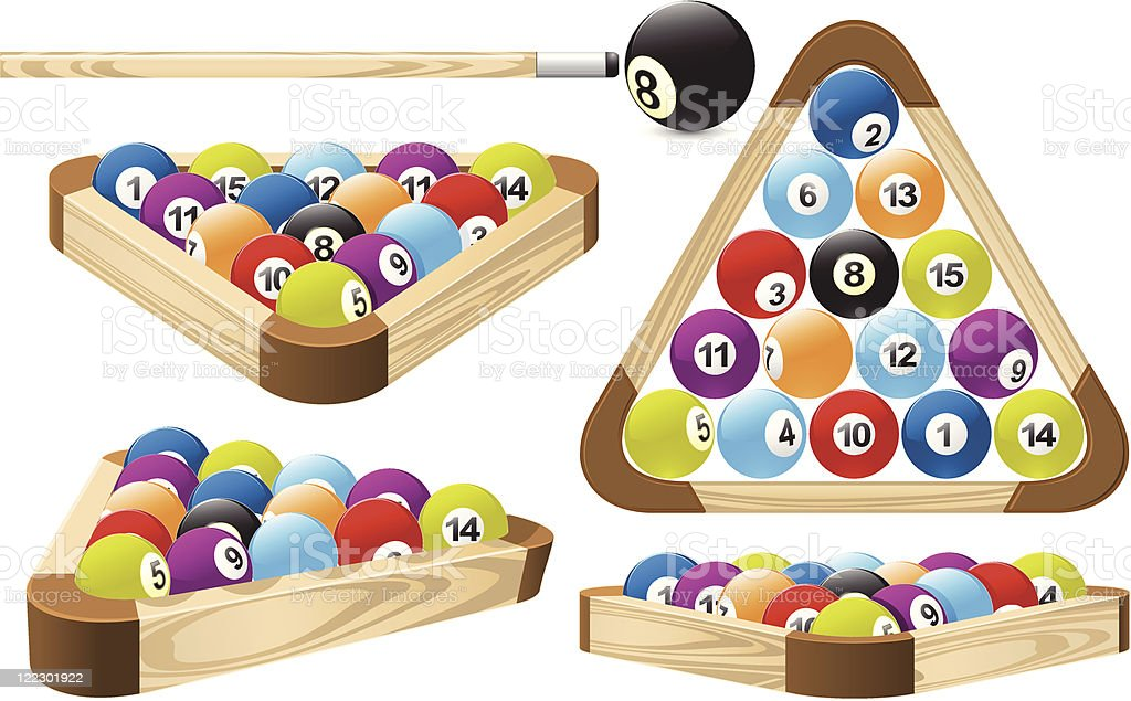 Pool rack (billiards) vector art illustration