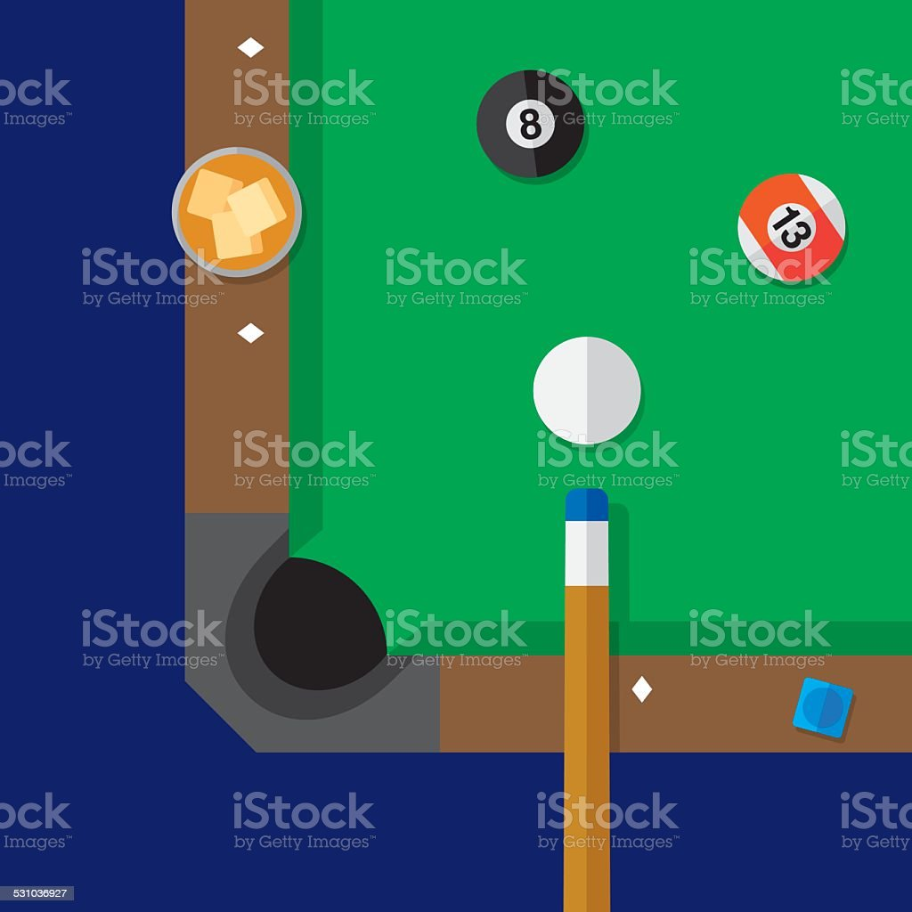 Pool Table Close Up vector art illustration