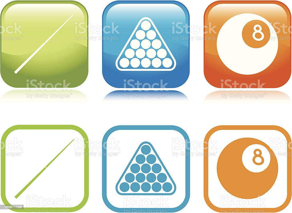 Pool Table Icons vector art illustration