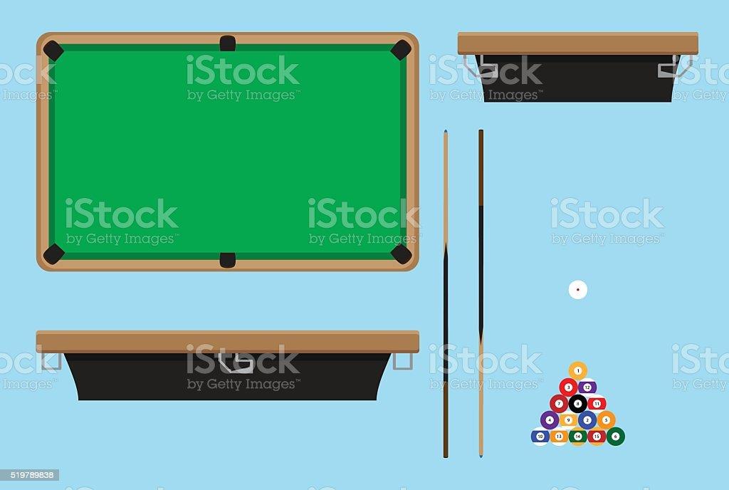 Pool table top side vector art illustration