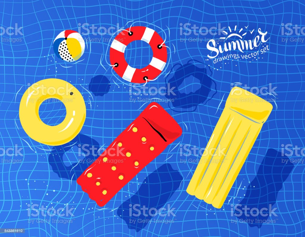 Pool toys floating on water vector art illustration