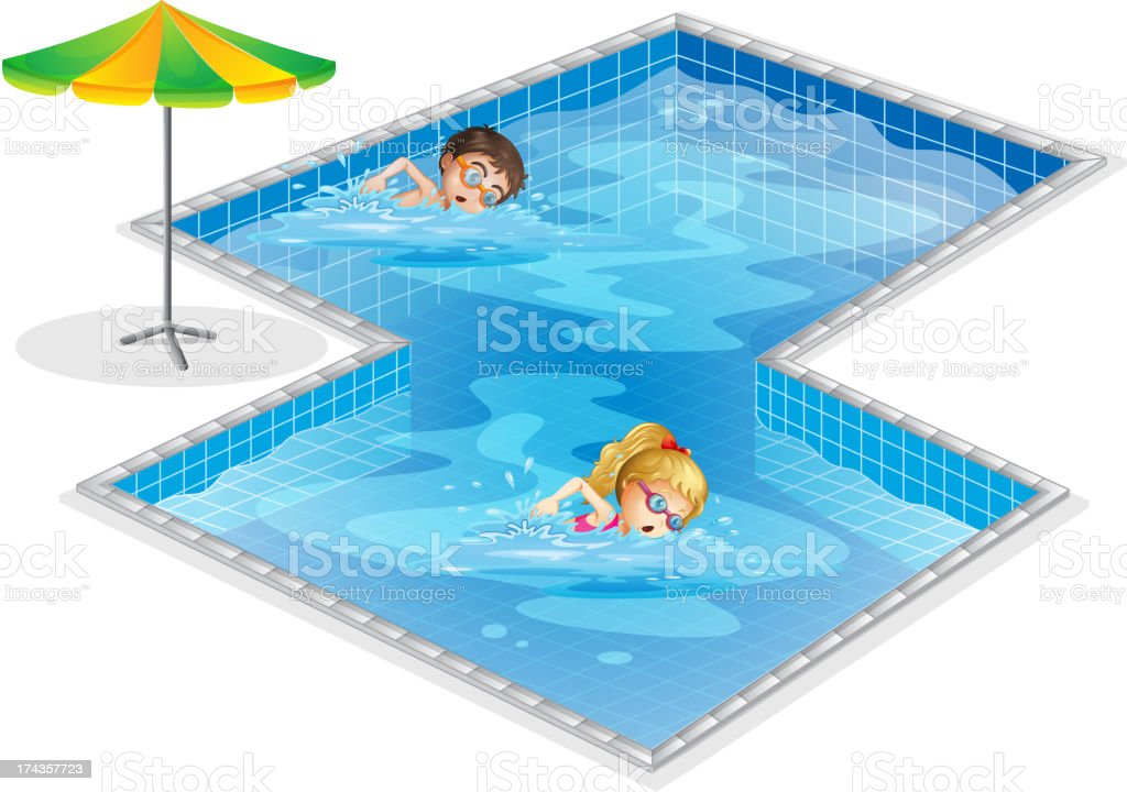 Pool with boy and girl swimming royalty-free stock vector art