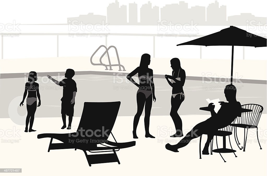 Poolside Vector Silhouette royalty-free stock vector art