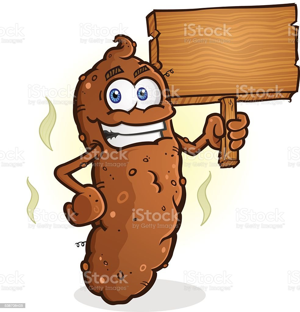 Poop Cartoon Character Holding a Blank Wooden Sign vector art illustration