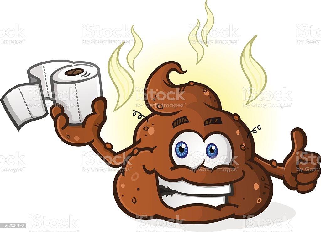 Poop Cartoon Character Holding Toilet Paper vector art illustration