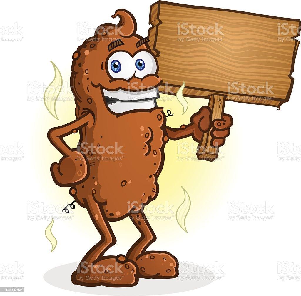 Poop Cartoon Character Standing Thumbs Up vector art illustration