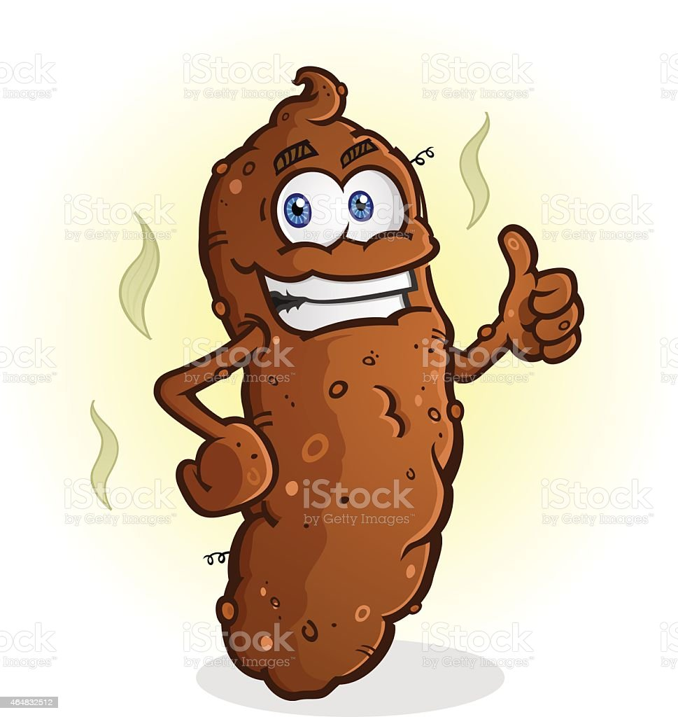 Poop Thumbs Up Cartoon Character vector art illustration
