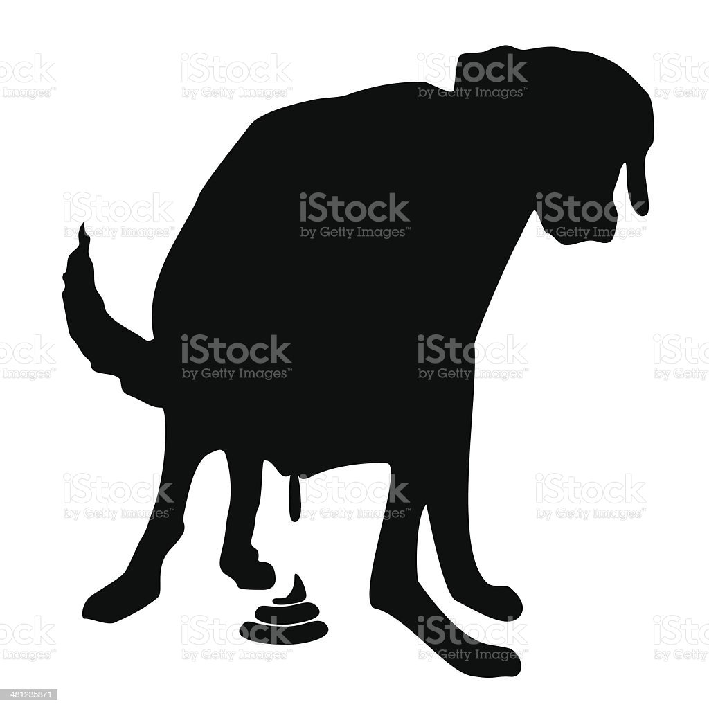 Pooping dog illustration vector art illustration
