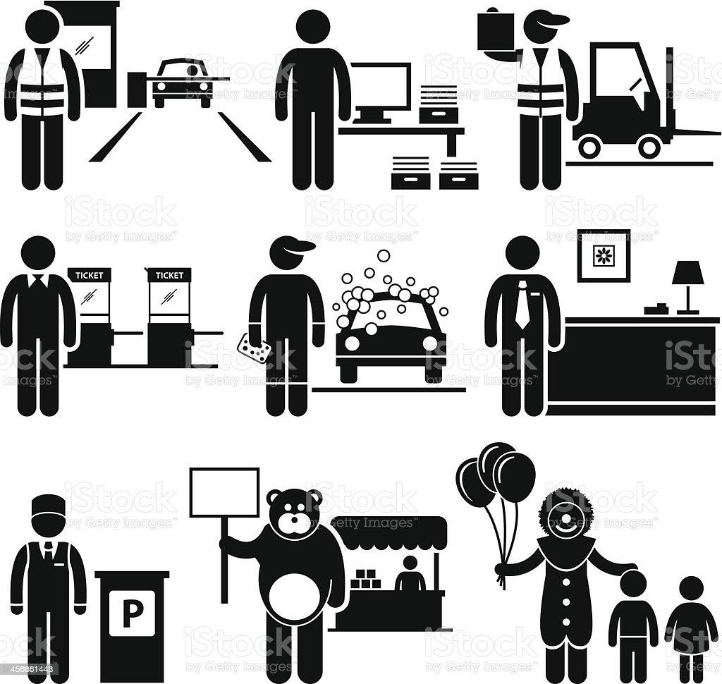 Poor Low Class Jobs Occupations Careers vector art illustration