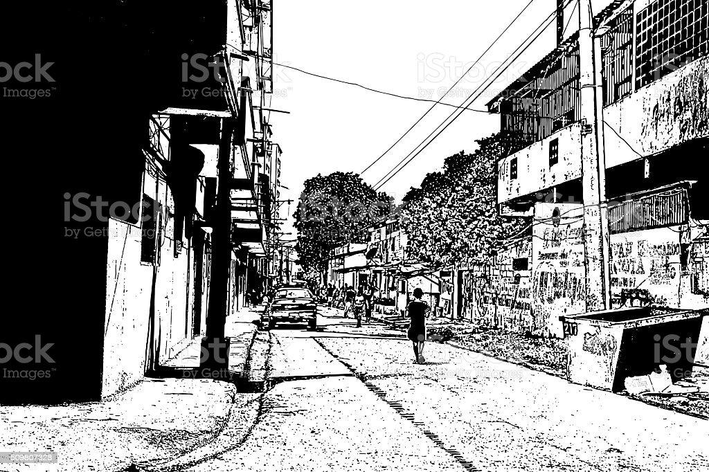 Poor Neighborhood. Chorrillo District, Panama City, Panama. vector art illustration