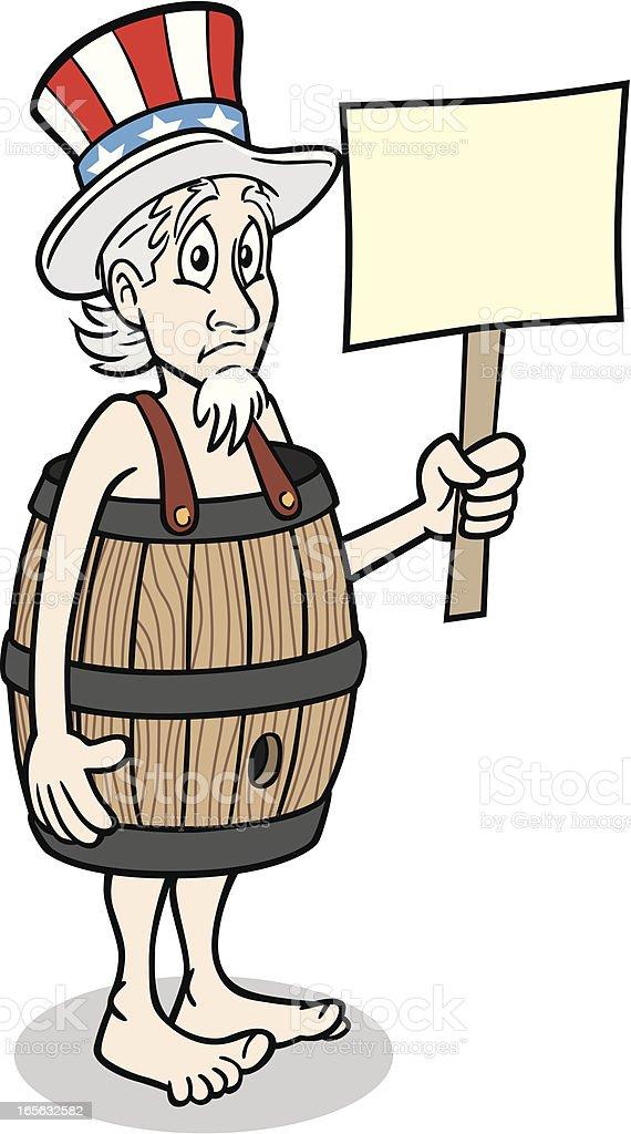 Poor Uncle Sam vector art illustration