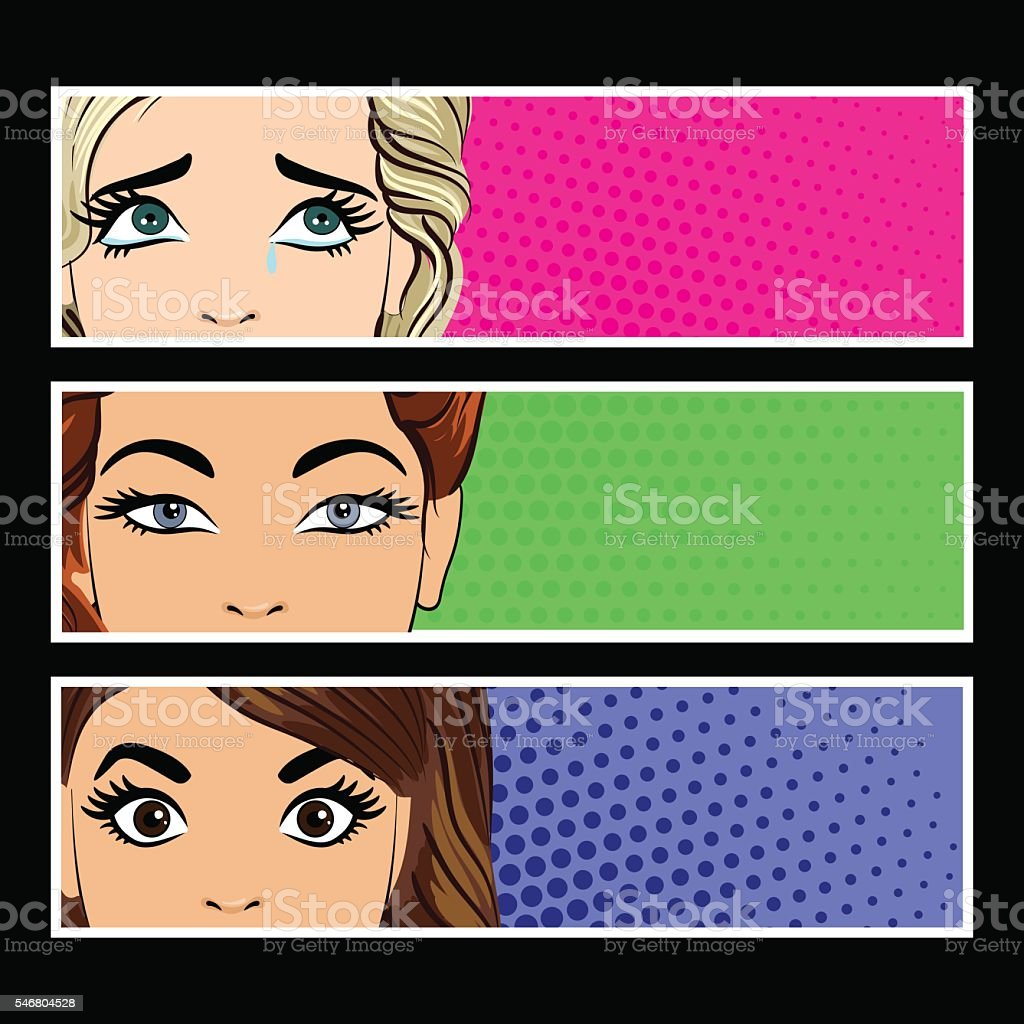 Pop art banner with female eyes vector art illustration