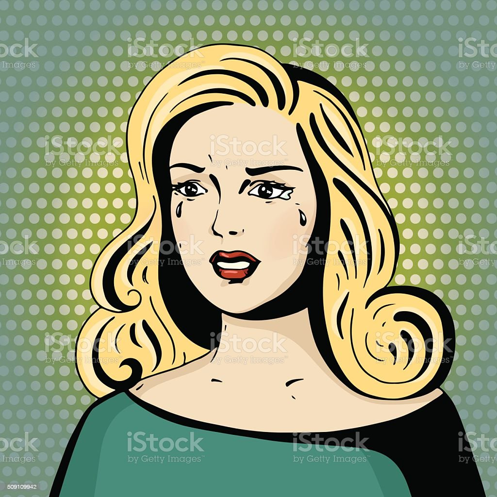 Pop art beautiful woman crying. vector art illustration