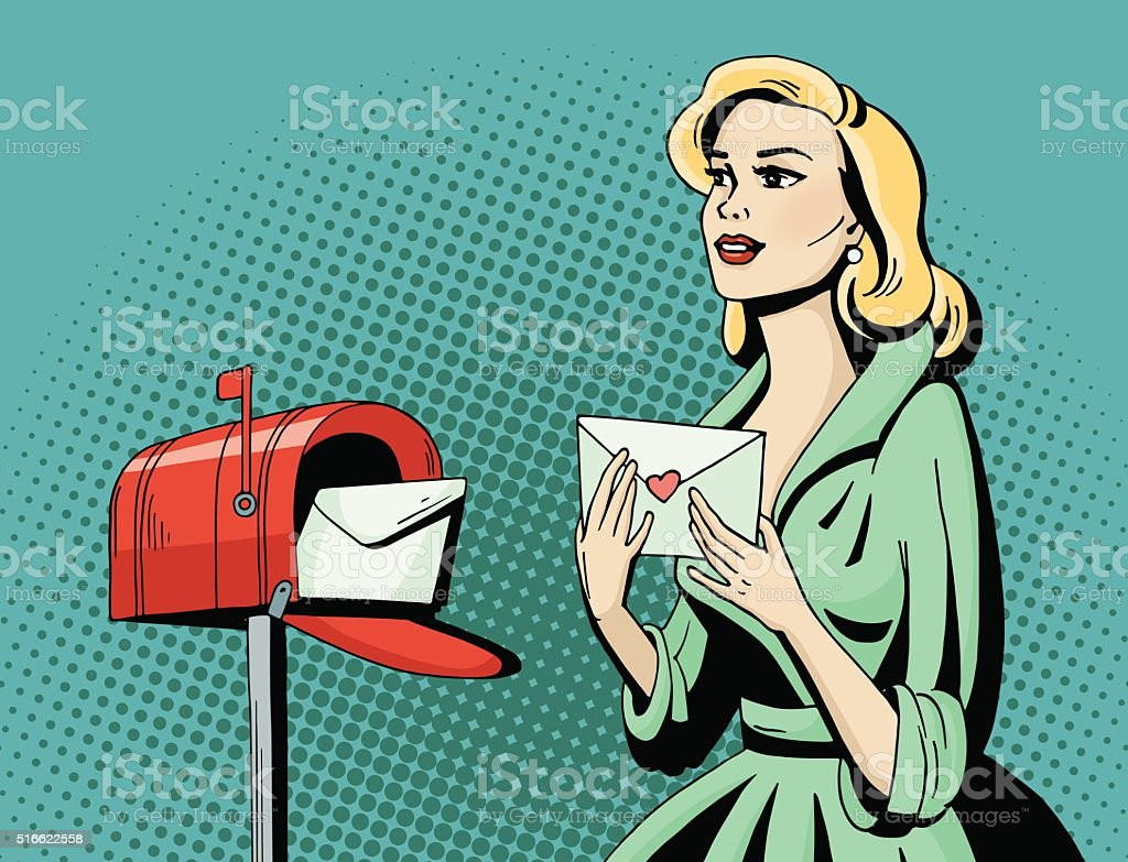Pop art beautiful woman with love letter and mailbox vector art illustration