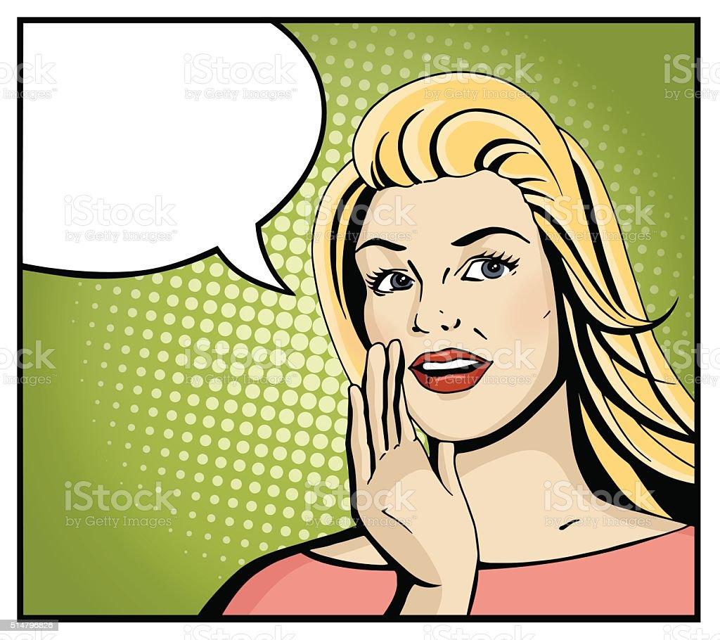 Pop art blonde woman smile and speak. vector art illustration