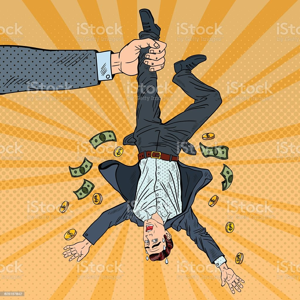 Pop Art Businessman Loosing his Last Money vector art illustration