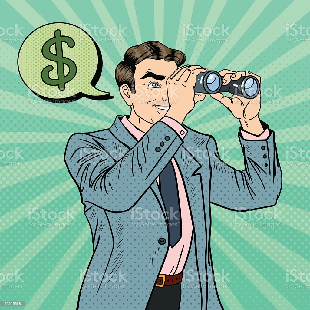 Pop Art Businessman with Binoculars Looking Money vector art illustration