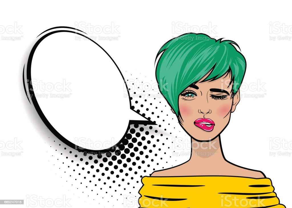 Pop art cartoon comic sexy woman vector art illustration