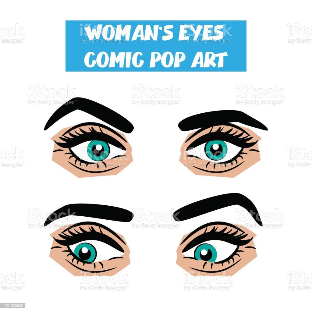 Pop art cartoon comic stare woman eyes vector art illustration