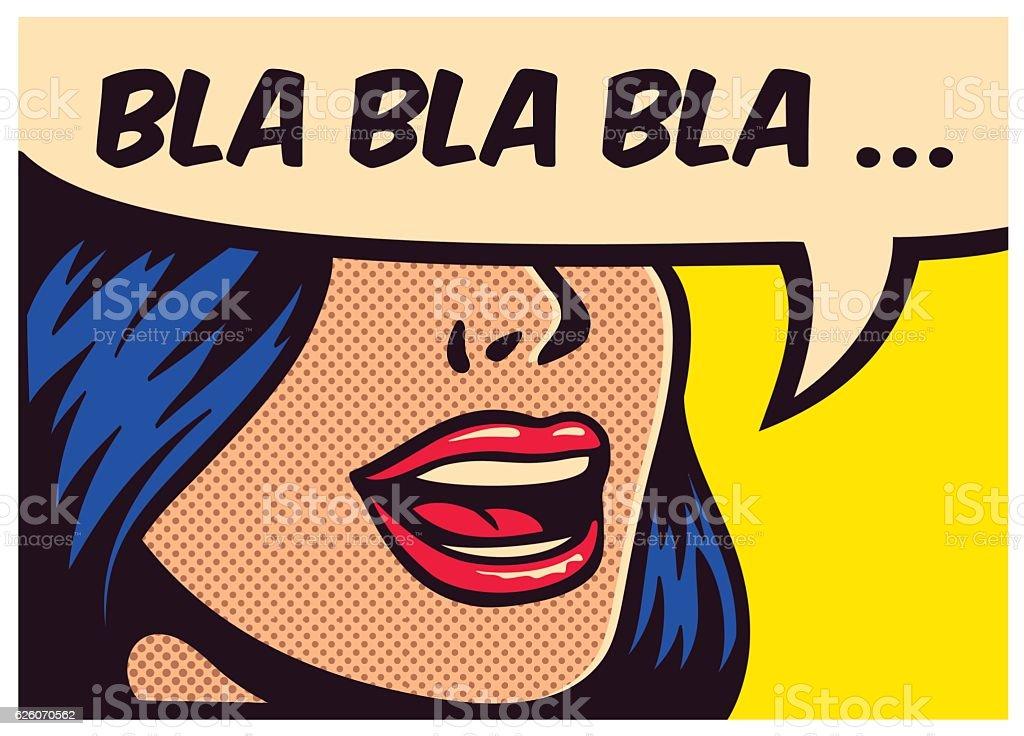 Pop art comic book girl talking non-sense gossip vector illustration vector art illustration