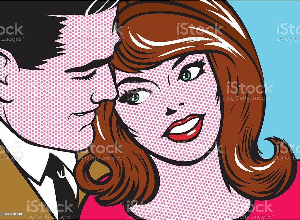 pop art couple vector art illustration