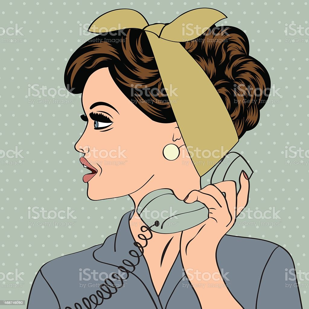 pop art cute retro woman in comics style with message vector art illustration