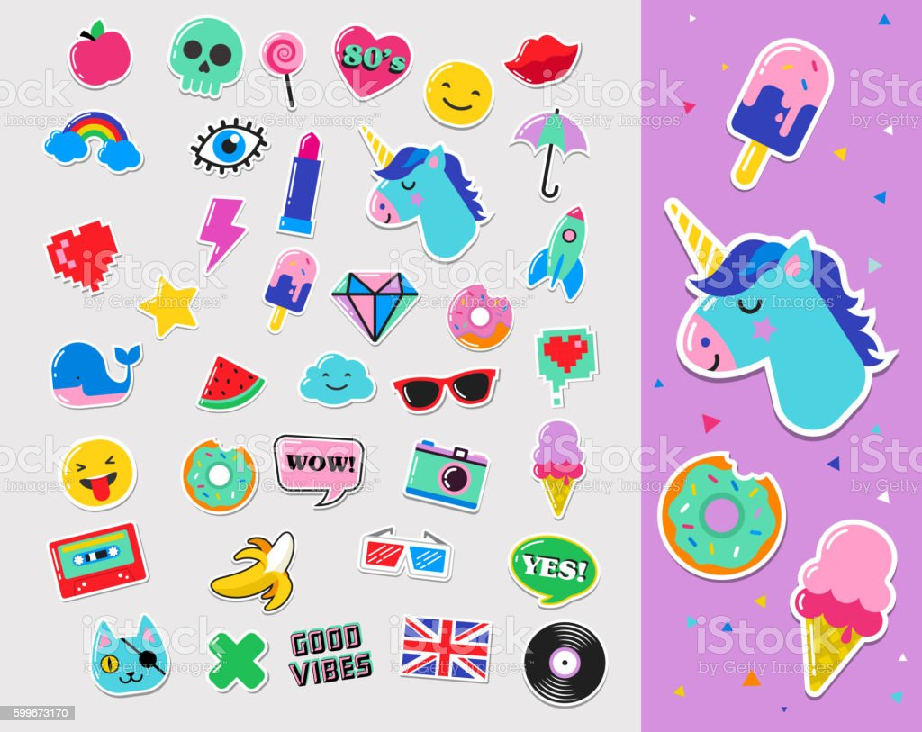 Pop art fashion chic patches, pins, badges and stickers vector art illustration