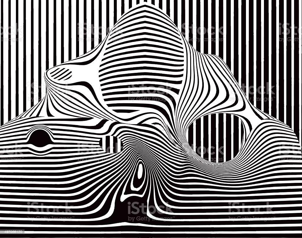 Pop Art Halftone Pattern of Striped Shape vector art illustration